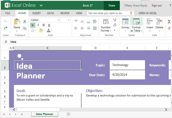 idea planner template for excel for tasks goals and objectives