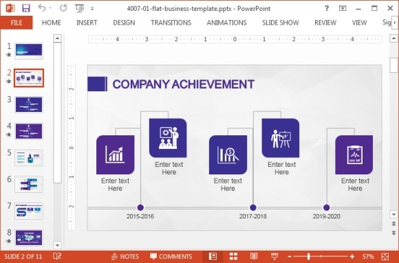 Business powerpoint template with violet color palette by slidemodel highlight comany achievements toneelgroepblik