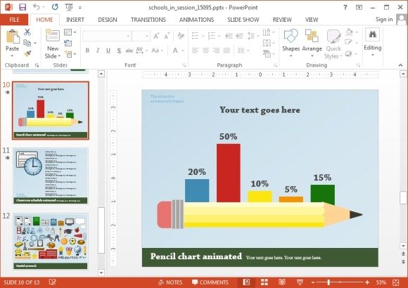 Pencil chart slide