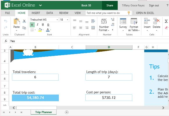 trip planner template for excel online