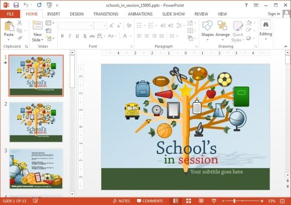 animated school powerpoint templates, Modern powerpoint