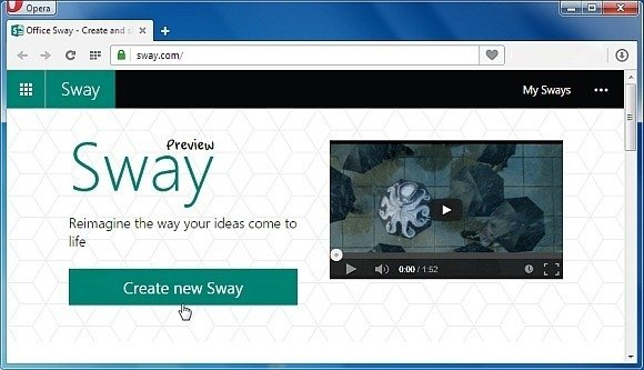 Office sway the web presentation app by microsoft New website create free online