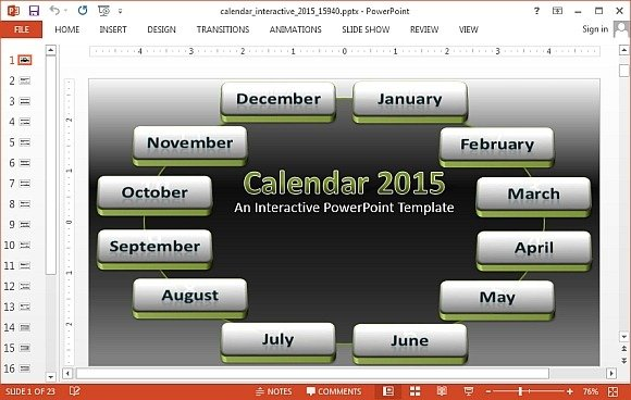 interactive calendar 2015 powerpoint template