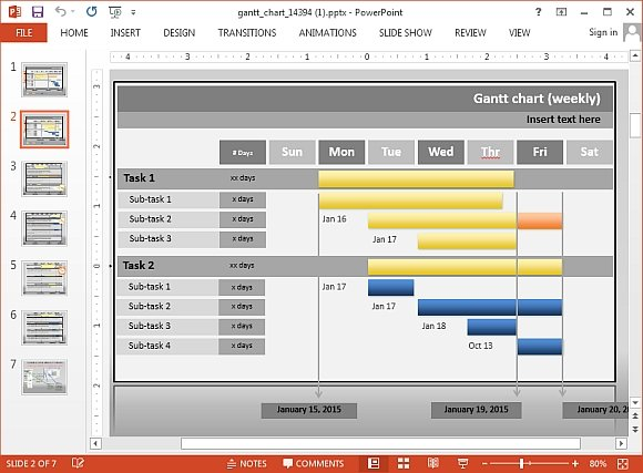 interactive gantt chart project progress template for powerpoint