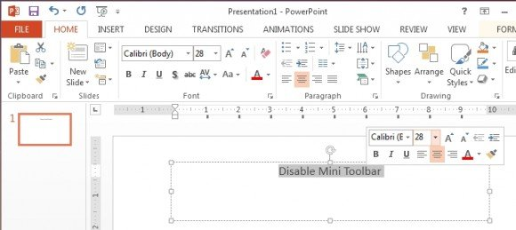 Mini toolbar in Office 2013