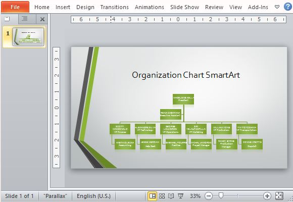 Widescreen organizational chart template for powerpoint for Power point org chart template