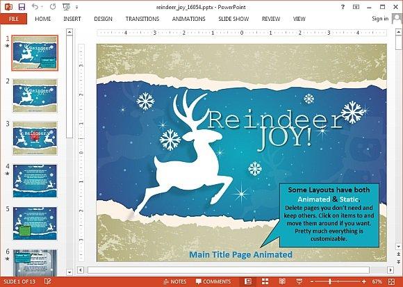 Reindeer joy PowerPoint template