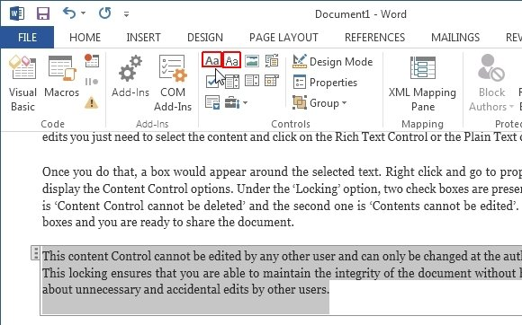 Rich text and plain text controls