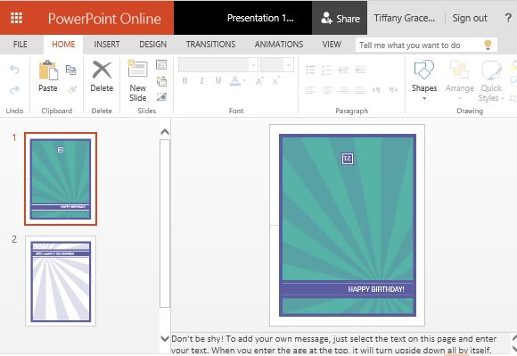Free PowerPoint Templates  Online Greeting Card Template