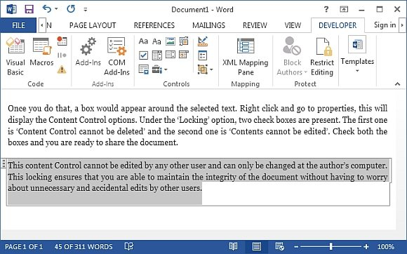 content control for Word 2013