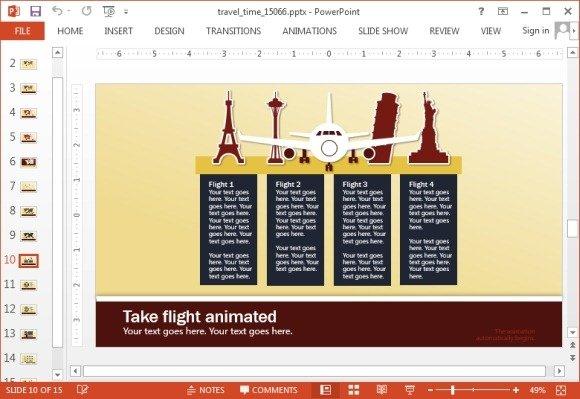 Aeroplane slide design for travel presentations