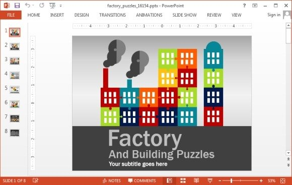 animated factory puzzle template for powerpoint, Modern powerpoint