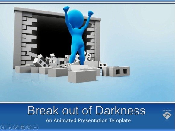 Animated video for powerpoint breaking the wall to get into the light break out of darknes animation for powerpoint toneelgroepblik Image collections