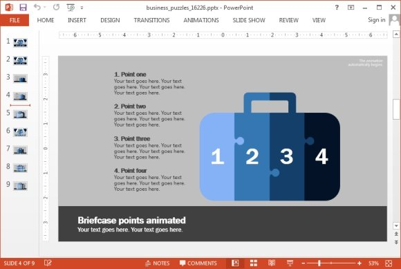 Animated business puzzle powerpoint template briefcase puzzle slide toneelgroepblik Image collections