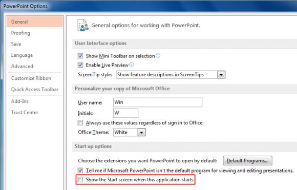 Disable Office 2013 Start Screen