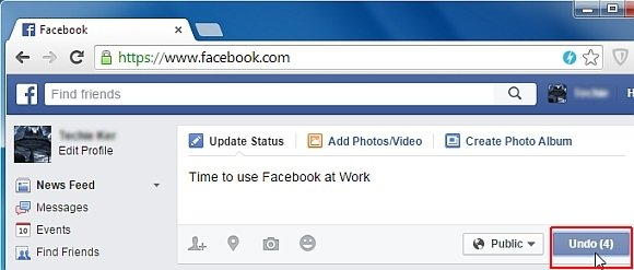 Facebook Undo extension for Chrome with 5 seconds delay