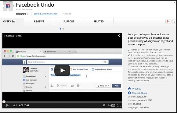 Facebook Undo for Google Chrome