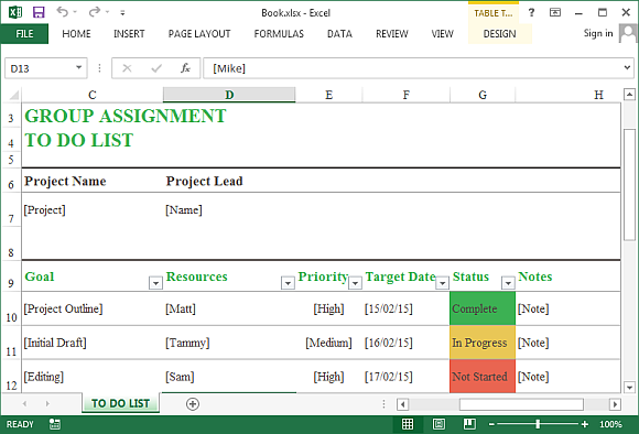 group assignment template for excel