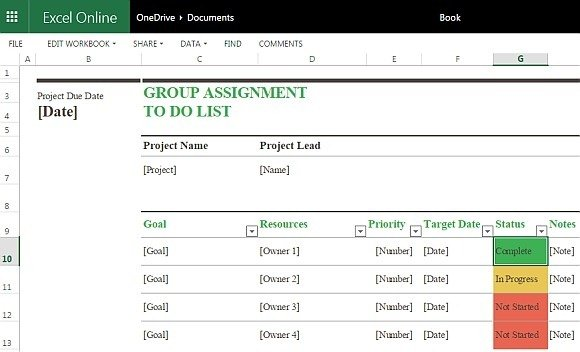 Group Assignment To Do List Template For Excel Online - Excel online templates