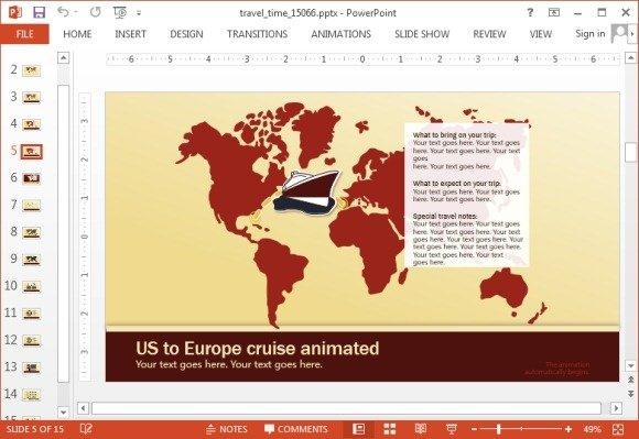Travel themed PowerPoint slide