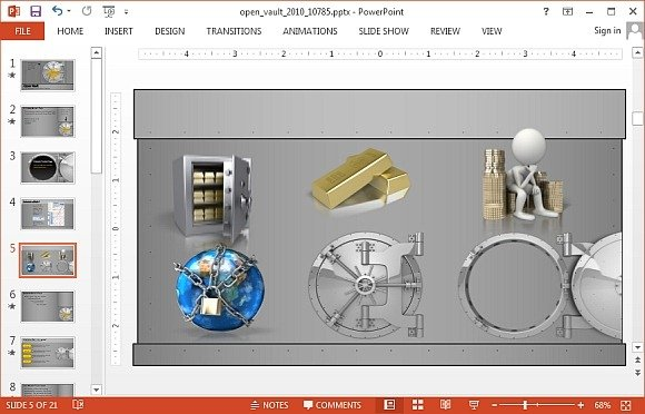 Animated bank vault templates for PowerPoint