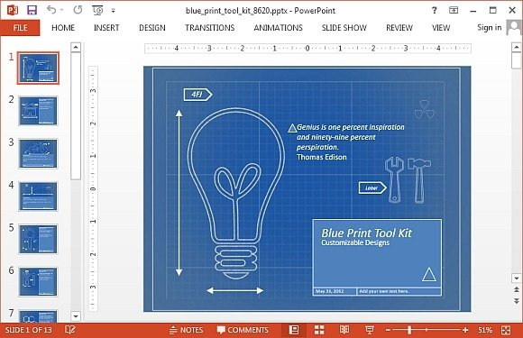 Animated blueprint PowerPoint template
