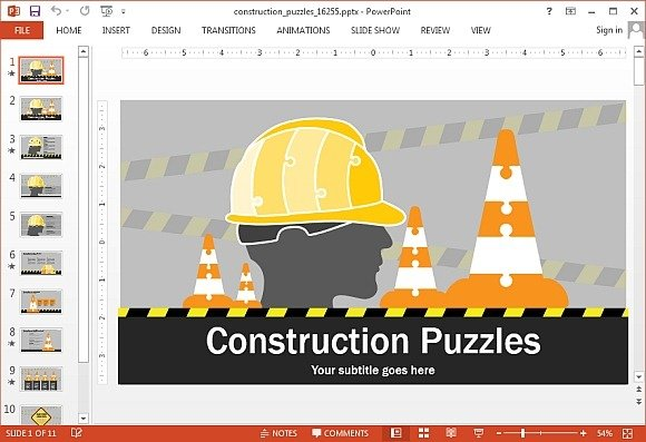 Animated construction puzzles PowerPoint template