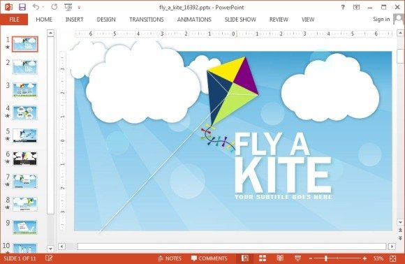 Animated kite PowerPoint template