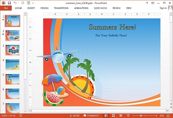Animated summers here PowerPoint template