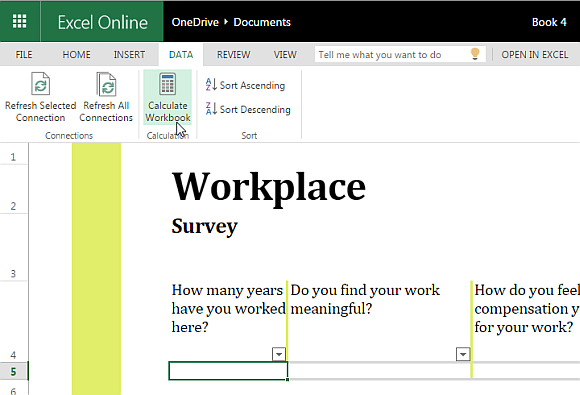 Workplace Survey Template For Excel Online