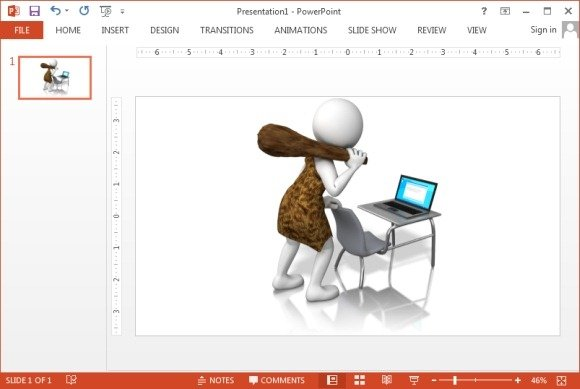 Caveman at laptop clipart