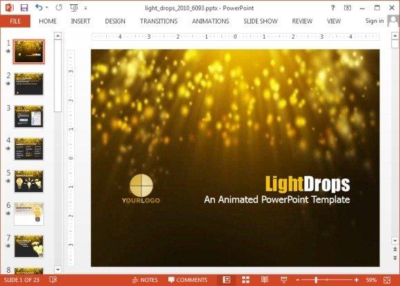 Animated fairy rain powerpoint template light drops powerpoint template toneelgroepblik Image collections