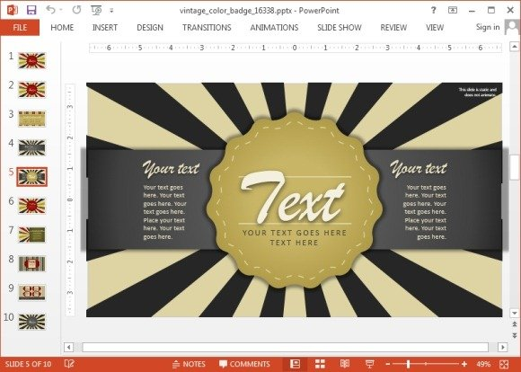 Text badge slide for PowerPoint