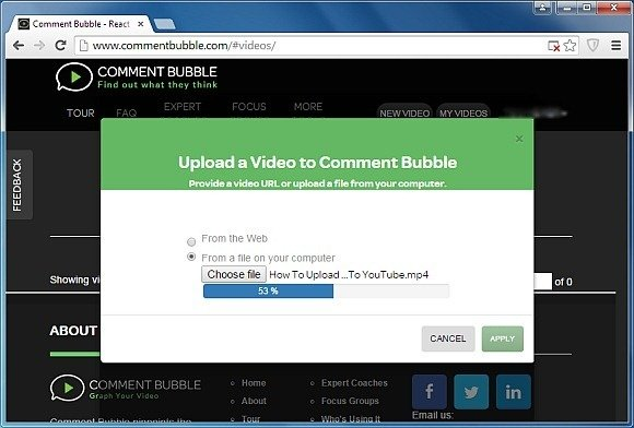 Uploading video to Comment Bubble