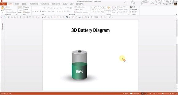 3D battery diagram for PowerPoint