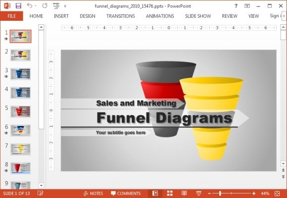 animated funnel diagrams powerpoint template, Modern powerpoint