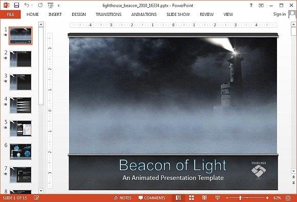 Animated ocean powerpoint templates animated lighthouse beacon powerpoint template toneelgroepblik Image collections