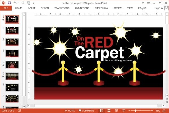 Animated red carpet PowerPoint template
