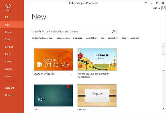 how to make custom templates appear on powerpoint 2013 start screen, Modern powerpoint