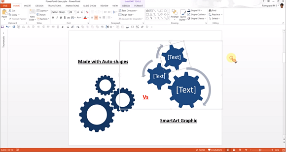 Gear diagrams for PowerPoint presentations