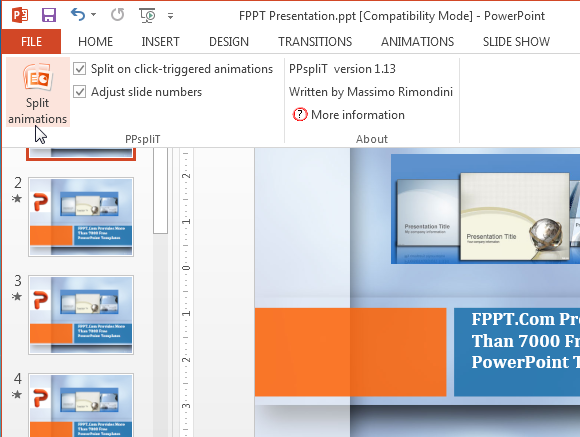 PPspliT add-in for PowerPoint