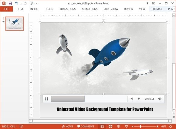 Retro rockets animated video background template for PowerPoint