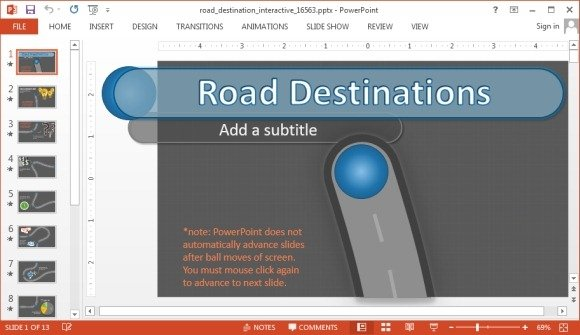 interactive road powerpoint template with animated timeline, Presentation templates