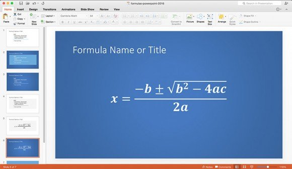 clearly display formulas in powerpoint using a simple formula template