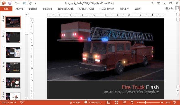 Animated fire truck powerpoint templateg fppt maxwellsz