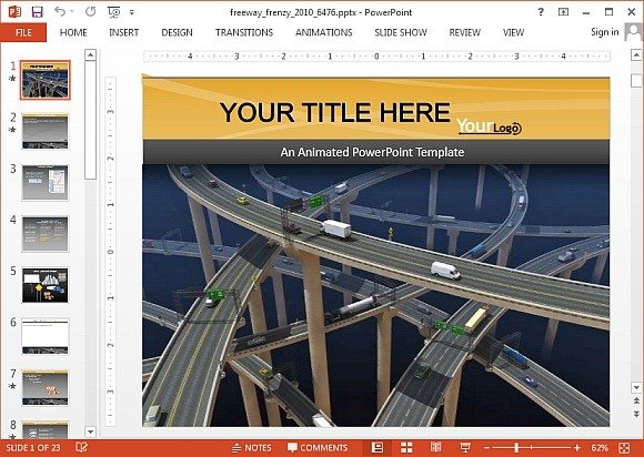 Animated freeway frenzy PowerPoint template