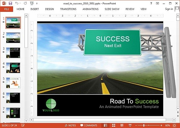 Animated road to success PowerPoint template