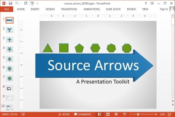 Animated source arrow PowerPoint template