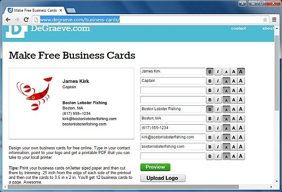 make a business card free online
