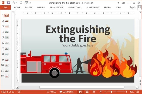 Animated fire brigade powerpoint templates extinguishing fire powerpoint template toneelgroepblik Images